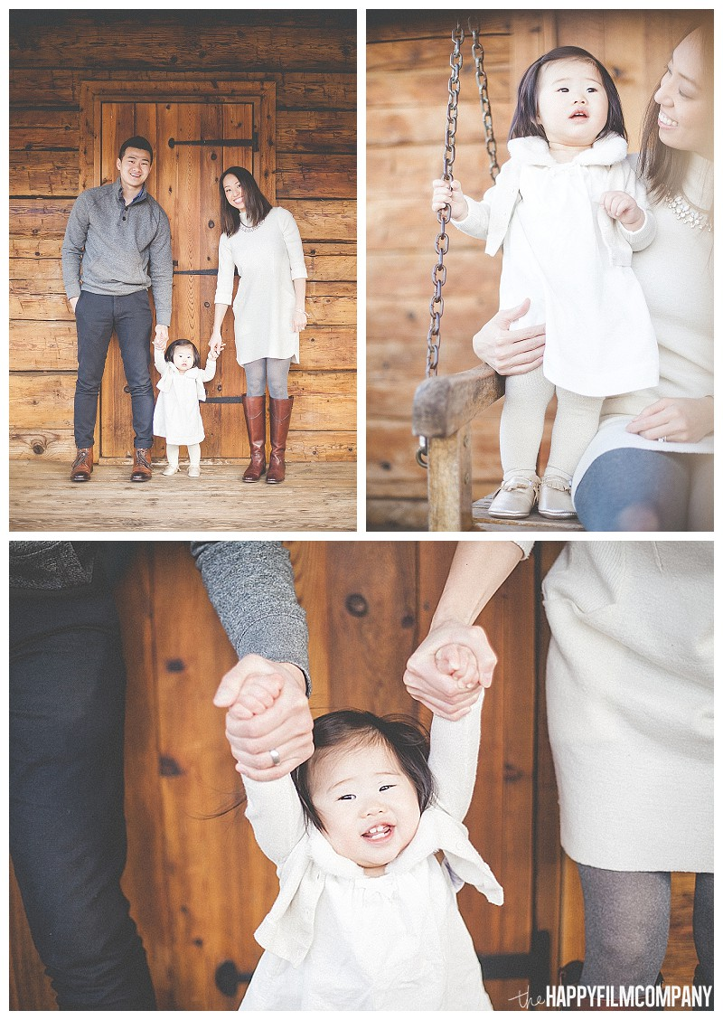 family photos at log cabin  - the Happy Film Company - Winter Family Portraits Seattle