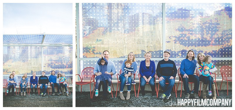 family portrait sitting in front of mural  - the Happy Film Company - Seattle Olympic Sculpture Garden Family Photos Seattle