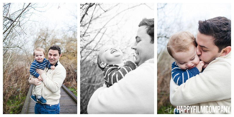 father son portraits wearing blue brown plants winter  - the Happy Film Company - Seattle Mini Family Photo Shoot