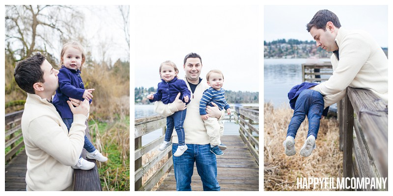 father pictures with kids boardwalk lake washington  - the Happy Film Company - Seattle Mini Family Photo Shoot - Juanita Bay park