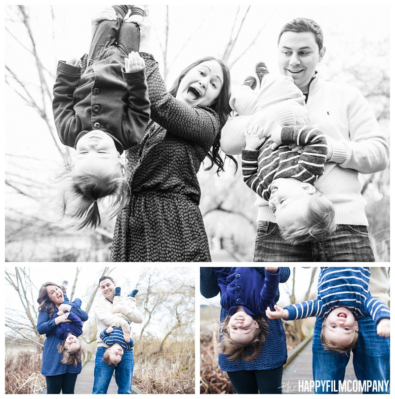 holding kids upside down family portraits  - the Happy Film Company - Seattle Mini Family Photo Shoot