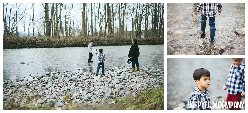 family playing in Tolt River Carnation  - the Happy Film Company - Seattle Family Photos