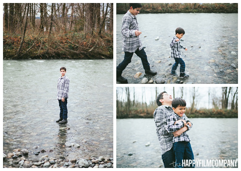 boys playing in the river water winter  - the Happy Film Company - Seattle Family Photos