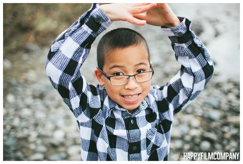 little boy portrait black and white plaid shirt  - the Happy Film Company - Seattle Family Photos
