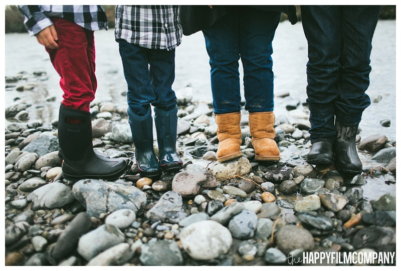 family feet photo standing on river rocks  - the Happy Film Company - Seattle Family Photos