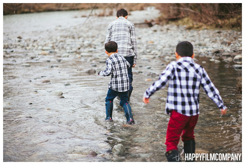 boys kids wading through water Told River Carnation  - the Happy Film Company - Seattle Family Photos
