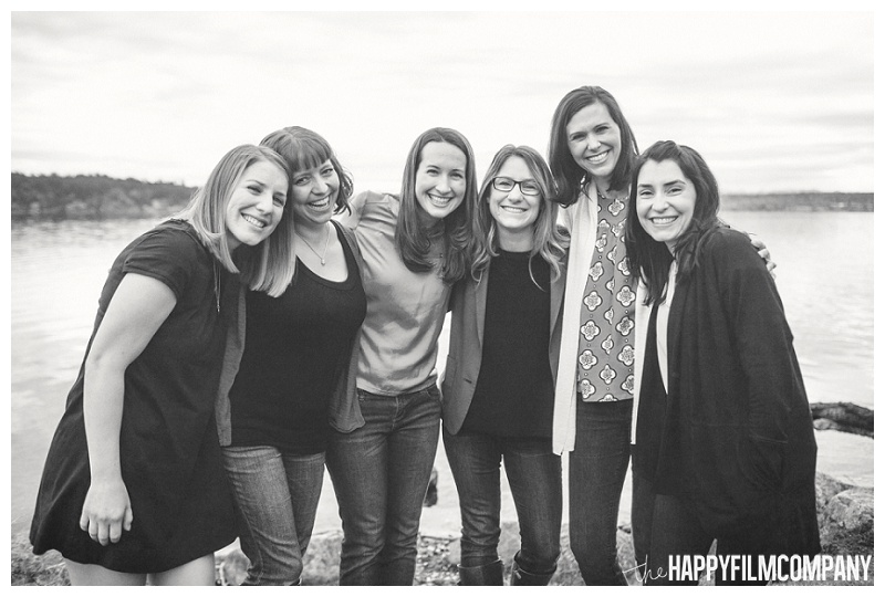 black and white portrait of moms at matthews beach  - the Happy Film Company - Seattle PEPS Group Photo Shoot