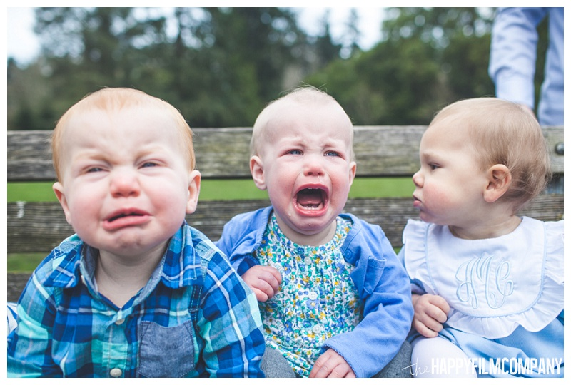 babies crying on bench funny  - the Happy Film Company - Seattle PEPS Group Photo Shoot
