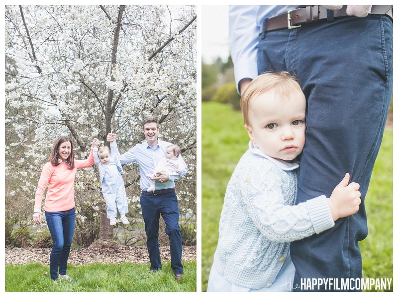 parents holding up little boy - the Happy Film Company - Seattle Family Photographers - Cherry Blossoms Mini Shoots