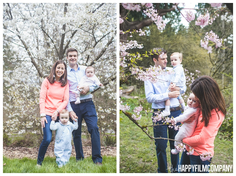 family portraits in spring flowers  - the Happy Film Company - Seattle Family Photographers - Cherry Blossoms Mini Shoots