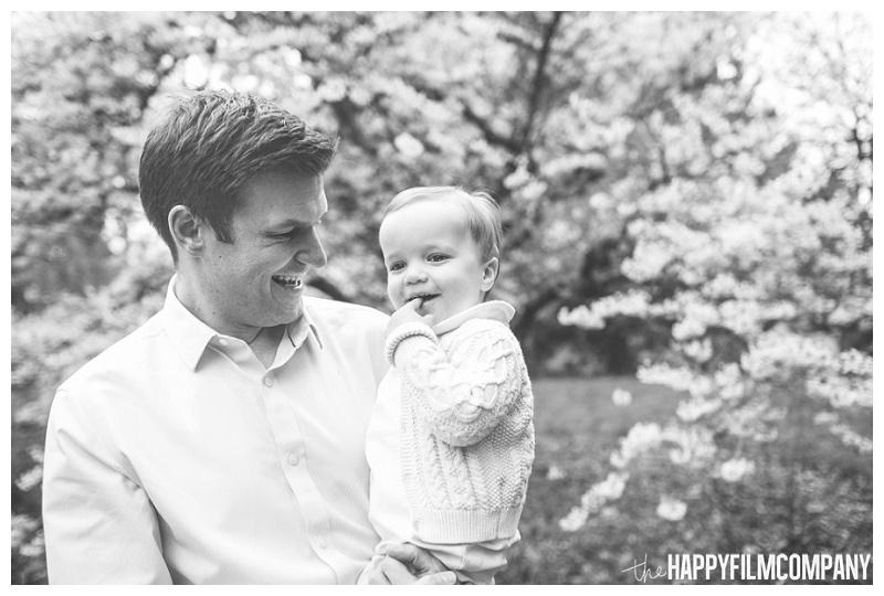 father son portrait black and white  - the Happy Film Company - Seattle Family Photographers - Cherry Blossoms Mini Shoots