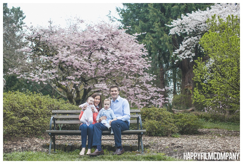 family sitting on bench beneath blossoms  - the Happy Film Company - Seattle Family Photographers - Cherry Blossoms Mini Shoots