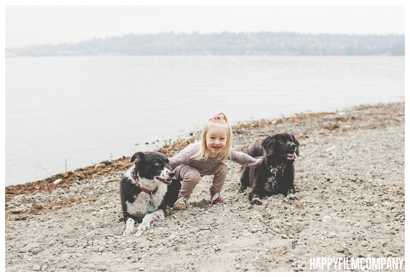 Dogs, little girl in grey sweater- the Happy Film Company - Why It's a Good Idea to Include Dog in Your Family Portraits