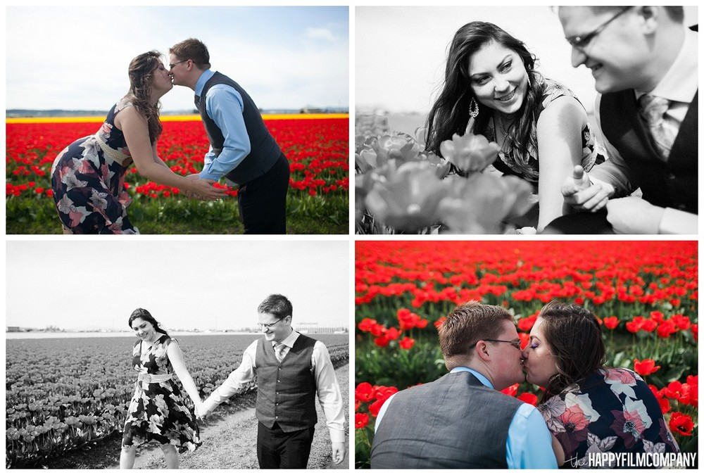Happy couple in the tulip fields- the Happy Film Company - Seattle Family Photography