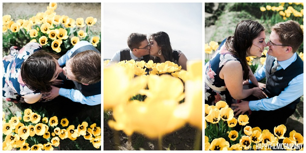 Engagement photos with tulip fields in Mt. Vernon - the Happy Film Company - Seattle Family Photography