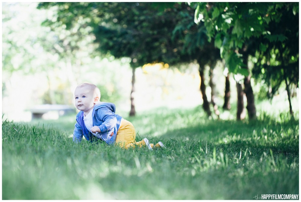 Cute baby boy crawling in the grass - the Happy Film Company - Seattle Family Photos