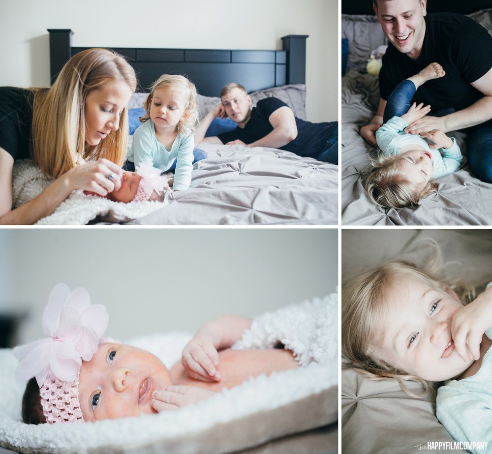 Family photos in bed with their newborn baby - the Happy Film Company - Seattle Family Photos
