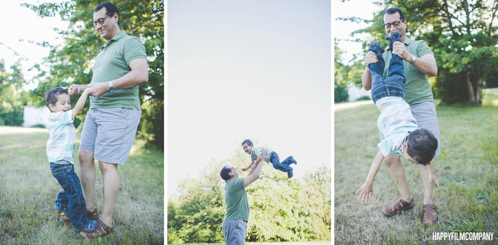 Father and son paying on the field -  the Happy Film Company - Seattle Family Photos