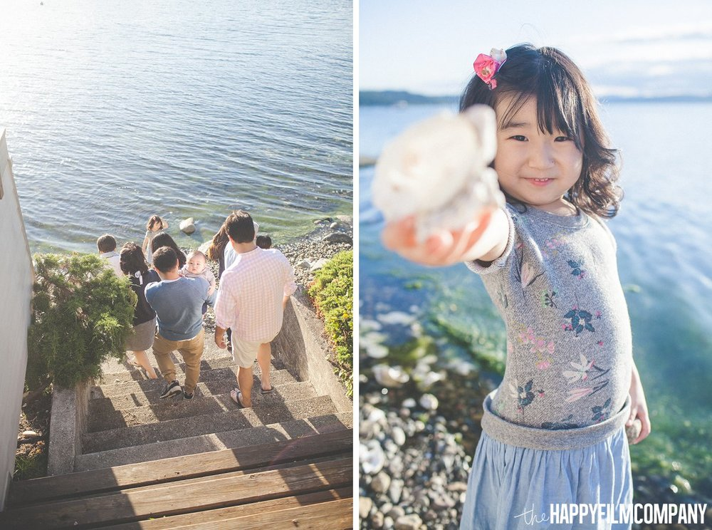 Playing with Shells on the beach - the Happy Film Company - Seattle Family Photos
