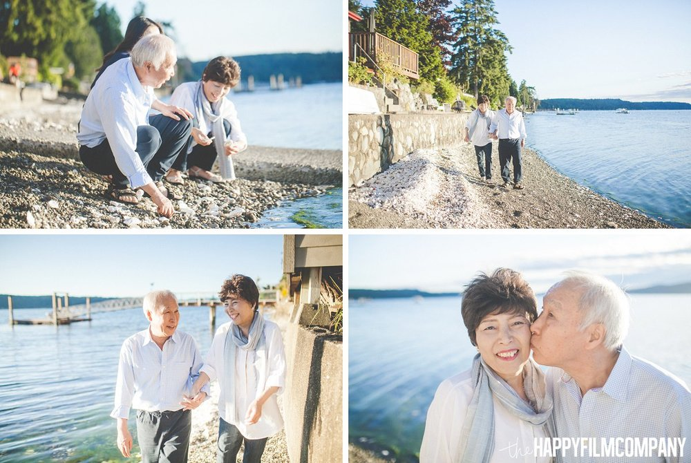 Growing old together - Happy Couple - Playing with shells on the beach - the Happy Film Company - Seattle Family Photos