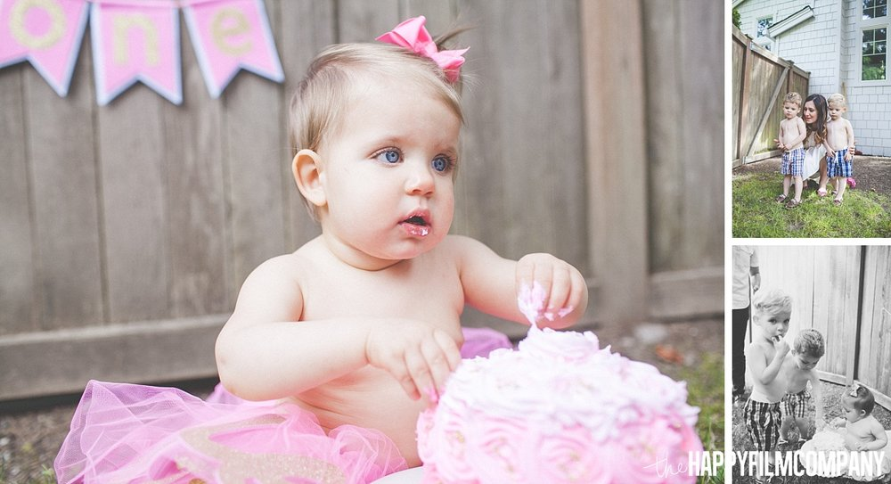 Pink cake and little girl on her pink tutu - the Happy Film Company - Seattle Family Photos