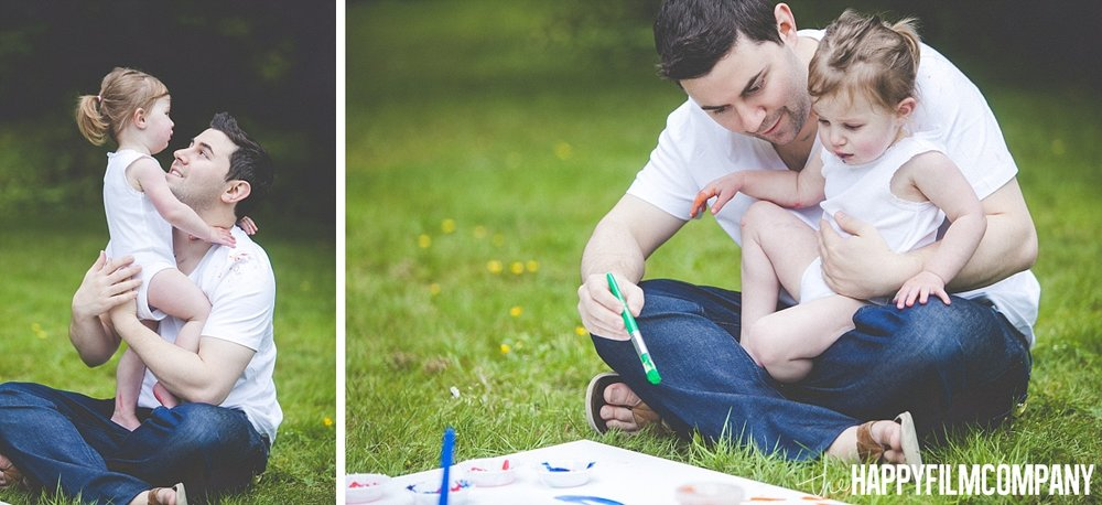 Father and daugther photo - finger painting - the Happy Film Company - Seattle Family Photos