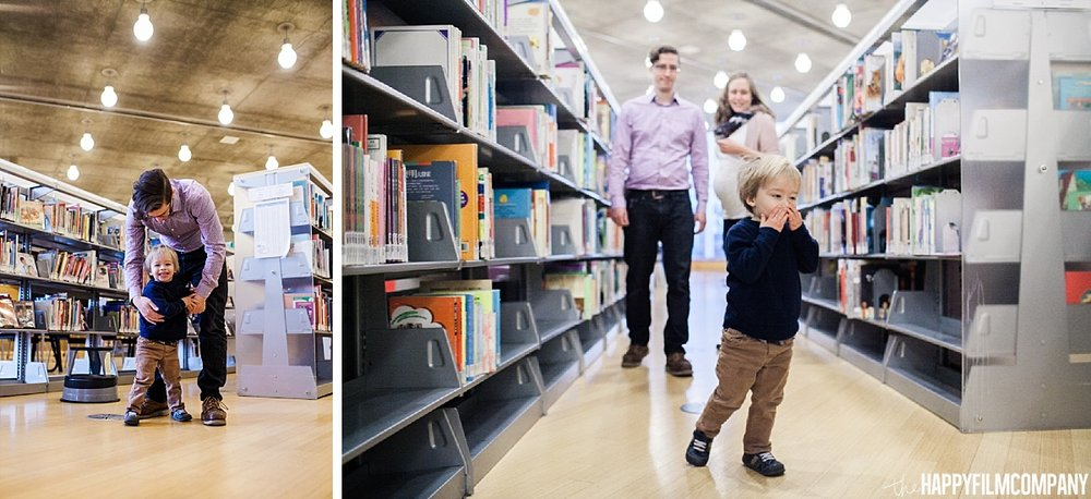 Library Family photo shoot ay downtown Seattle - - the Happy Film Company - Seattle Fanily Photos
