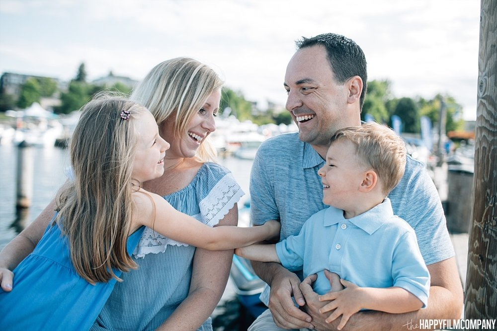 Coordinated blue & khaki outfits - the Happy Film Company - Seattle Family Photos