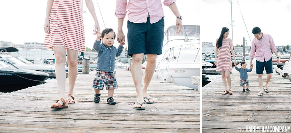 Family walking onto the boat dock -  the Happy Film Company - Seattle Family Photos