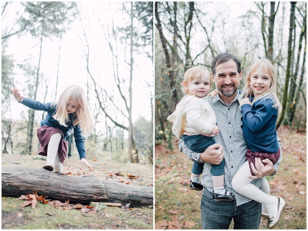 the Happy Film Company - St. Edwards Park - Seattle Family Photography - little girl climbing on logs father daughter portraits