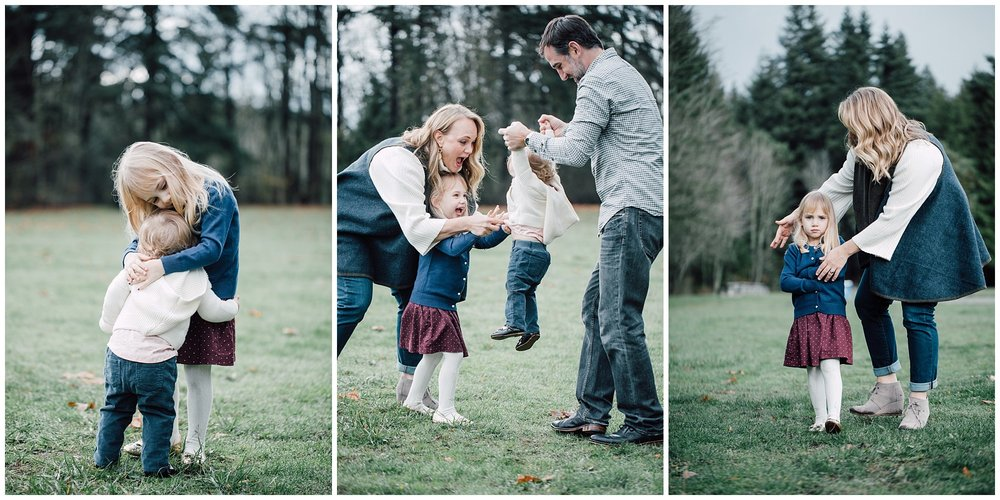 the Happy Film Company - St. Edwards Park - Seattle Family Photography - playing with kids in field sisters hugging