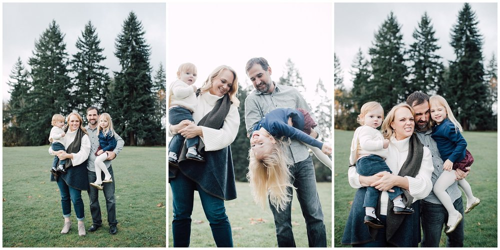 the Happy Film Company - St. Edwards Park - Seattle Family Photography - silly faces holding kids upside down playing