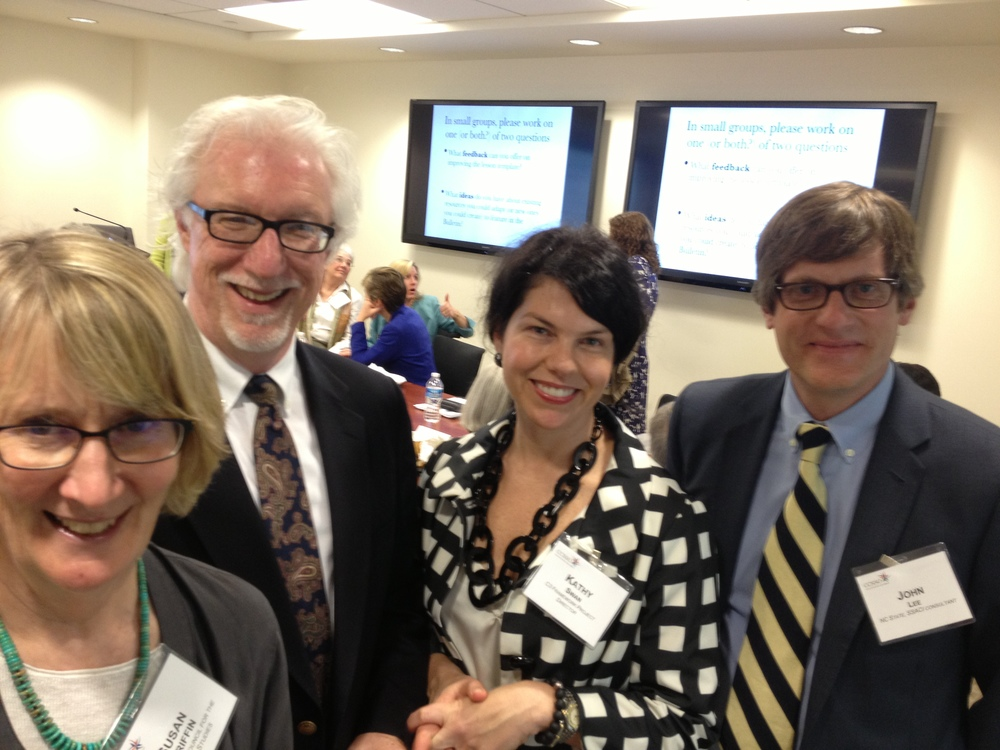 (Left to Right) Susan Griffin, Executive DIrector, National Council for the Social Studies (NCSS); SG Grant, University of Binghamton; Kathy Swan, University of Kentucky; and John Lee, University of North Carolina lead the team of educators who launched the C3 Framework.  To see  the format that Inquiring Minds designed for C3 see the tab Why Inquiry?