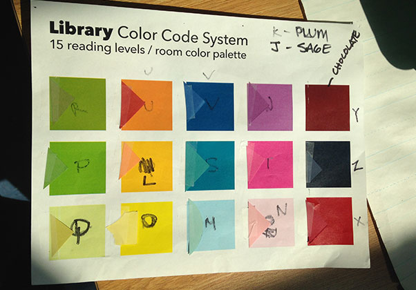 15 Level color system created using papers from Paper Source and matching colors created on a Mac for our new library and the room in general. The letters on each color represent the official reading levels — in this case L-Z.