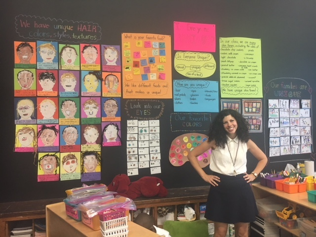 "The Learning Wall is an Inquiring Minds innovation that cultivates individual and group inquiry processes in the classroom.  Ms. Teagle teaches Kindergarten at PS20. She is so proud of her students for creating their (pre literate, highly visual) Learning Wall based on the essential question: ""How am I unique?"" This process aids the teacher in understanding how each child is developing.  At the same time it helps the child see him or herself as an individual and also citizen in their community. Even at this young age they 'own' their wall according to their teacher."