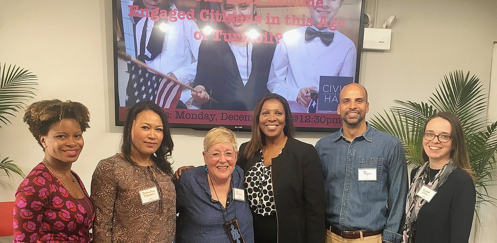 DeNora Getachew, Generation Citizen; Jacqueline Simmons, Teachers College, DK Holland, Inquiring Minds, NYC Public Advocate Letitia James (guest), Joe Rogers, Center for Education Equity and Elizabeth Waters, Inquiring Minds.