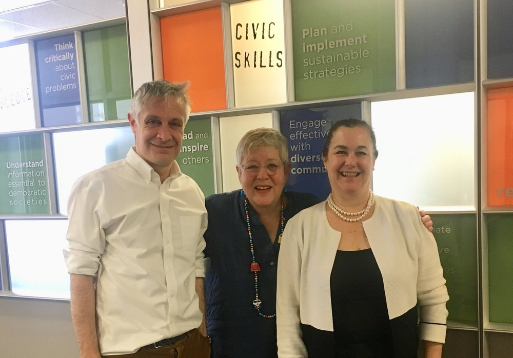 DK Holland and Patricia Crain de Galarce met with Peter Levine, founder of  CIRCLE at Tufts  in Boston recently. We discussed the importance of civic education in the lives of elementary school children. We are thrilled to say that Dr. Levine is now an advisor to Inquiring Minds.