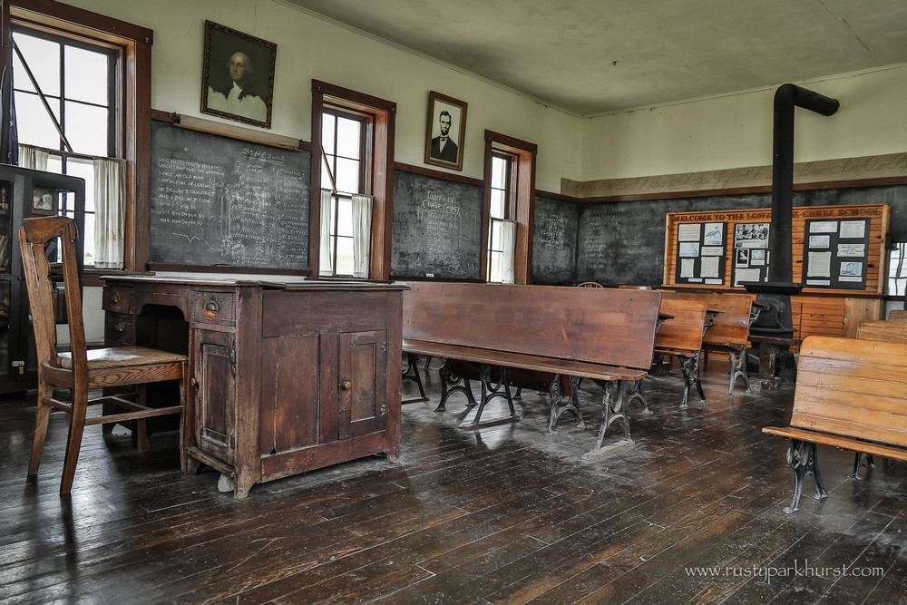 The Classroom, complete with wood stove to keep warm in winter