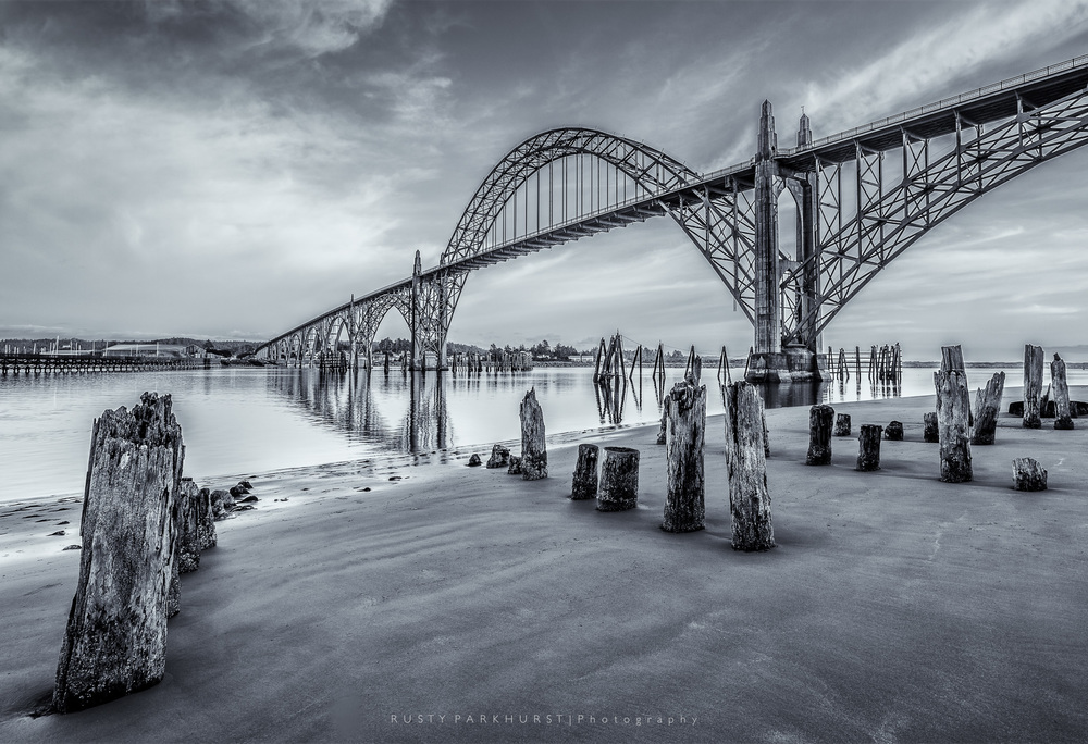 Yaquina Bay Bridge   - taken May 18, 2015.  Located in Newport, Oregon, over, you guessed it, Yaquina Bay.  I have other versions of this image, mostly in color, but kind of liked this one best.