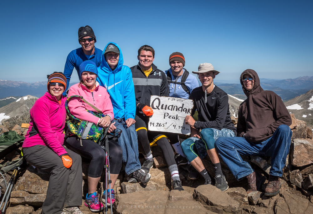 "Quandary Peak Summit - taken July 28, 2015.  I just had to include this image.  Quandary Peak is one of 54 peaks in Colorado with a summit above 14,000 feet.  These peaks are known by those who attempt to ""bag"" them as 14ers.  I had the pleasure of bagging this peak with this great group of friends.  It wasn't easy, but we all encouraged and pushed each other to the top!"