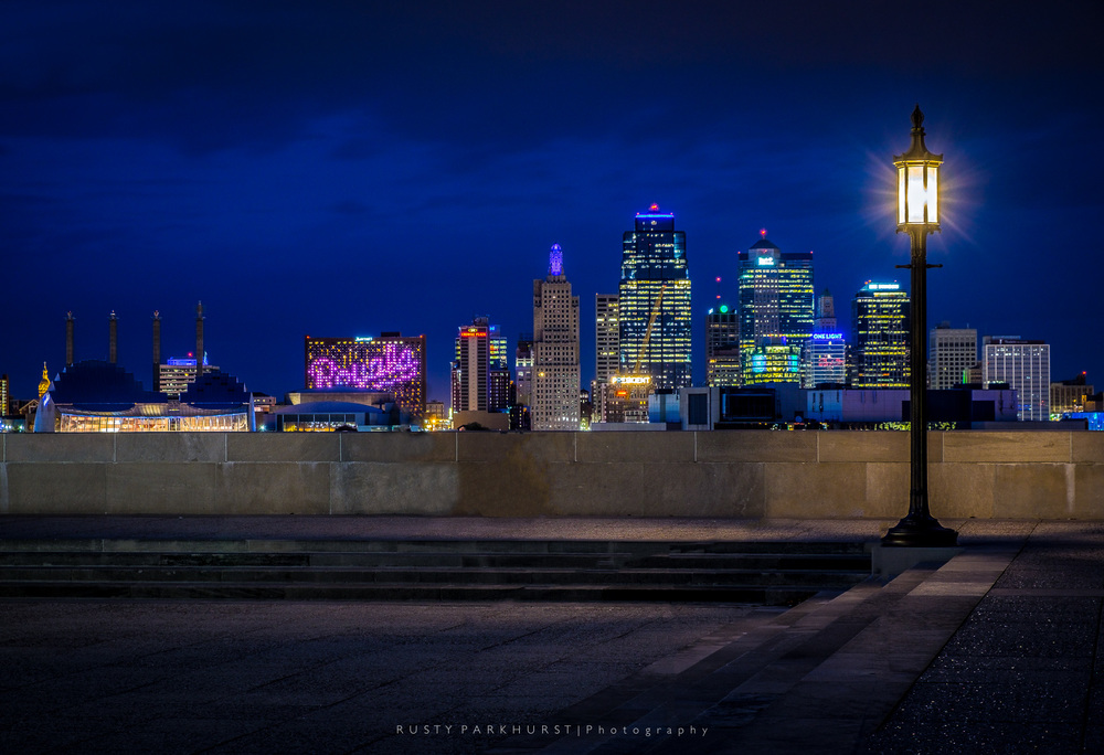 The Crown Is Ours! - taken October 28, 2015.  The Kansas City Royals won the World Series in 2015, for the first time since 1985.  The City was abuzz with the excitement and it showed.  This is the downtown skyline, taken from the Liberty Memorial a few nights before the final game.