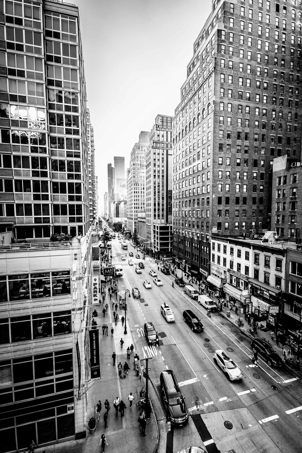 The view up 6th Avenue from the roof of the hotel.