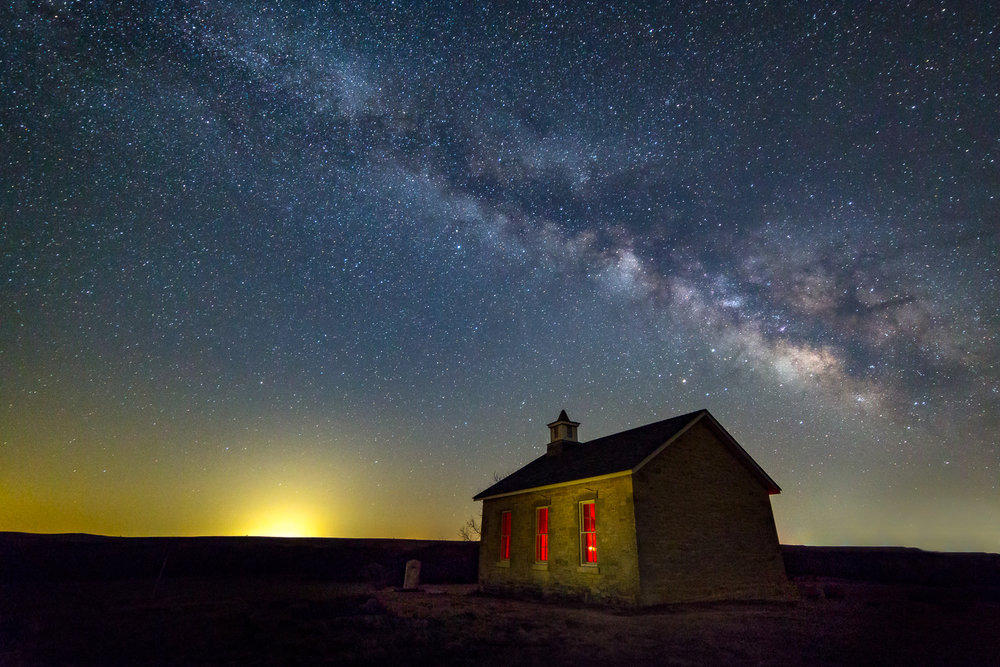 """Milky Way over Lower Fox Creek School"", Tallgrass Prairie National Preserve, near Strong City, Kansas."