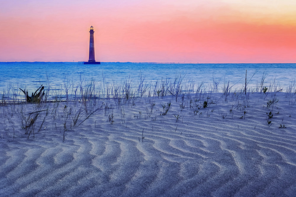 """Sunrise on the Beach"", Morris Island Lighthouse, Charleston, South Carolina."