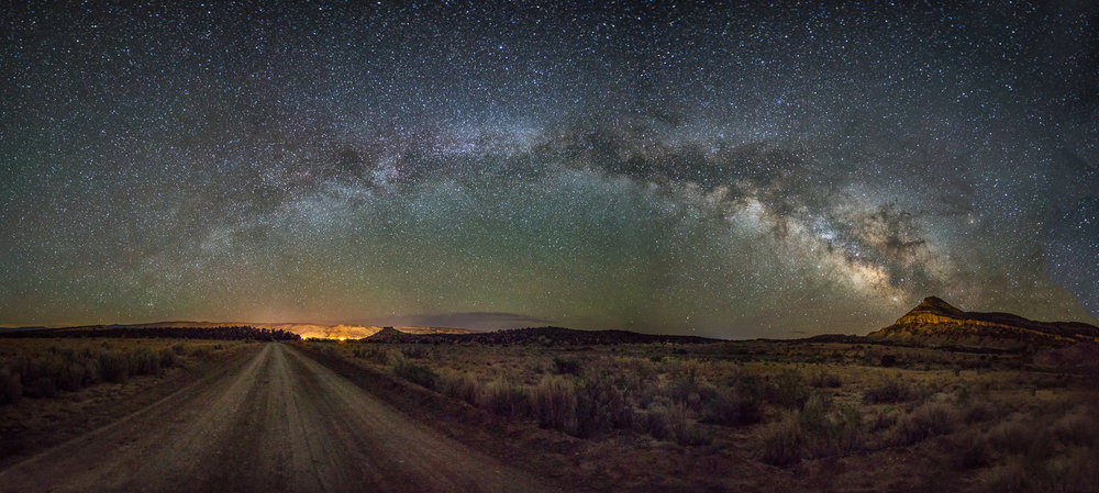 """Milky Way over Escalante"", a panoramic image of the night sky over Escalante, Utah."