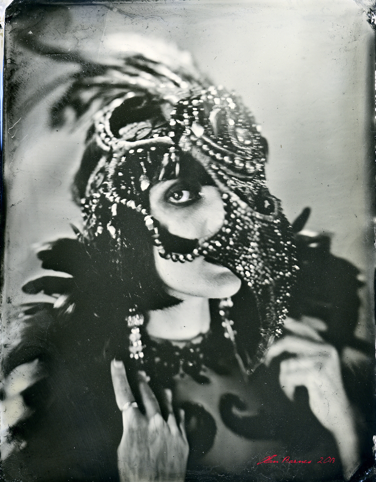 allanbarnes :     Cleo Viper, Los Angeles, 6.26.2013   wet plate collodion on aluminum.   Mask by Candice Angelini, Paris.     wonderous.