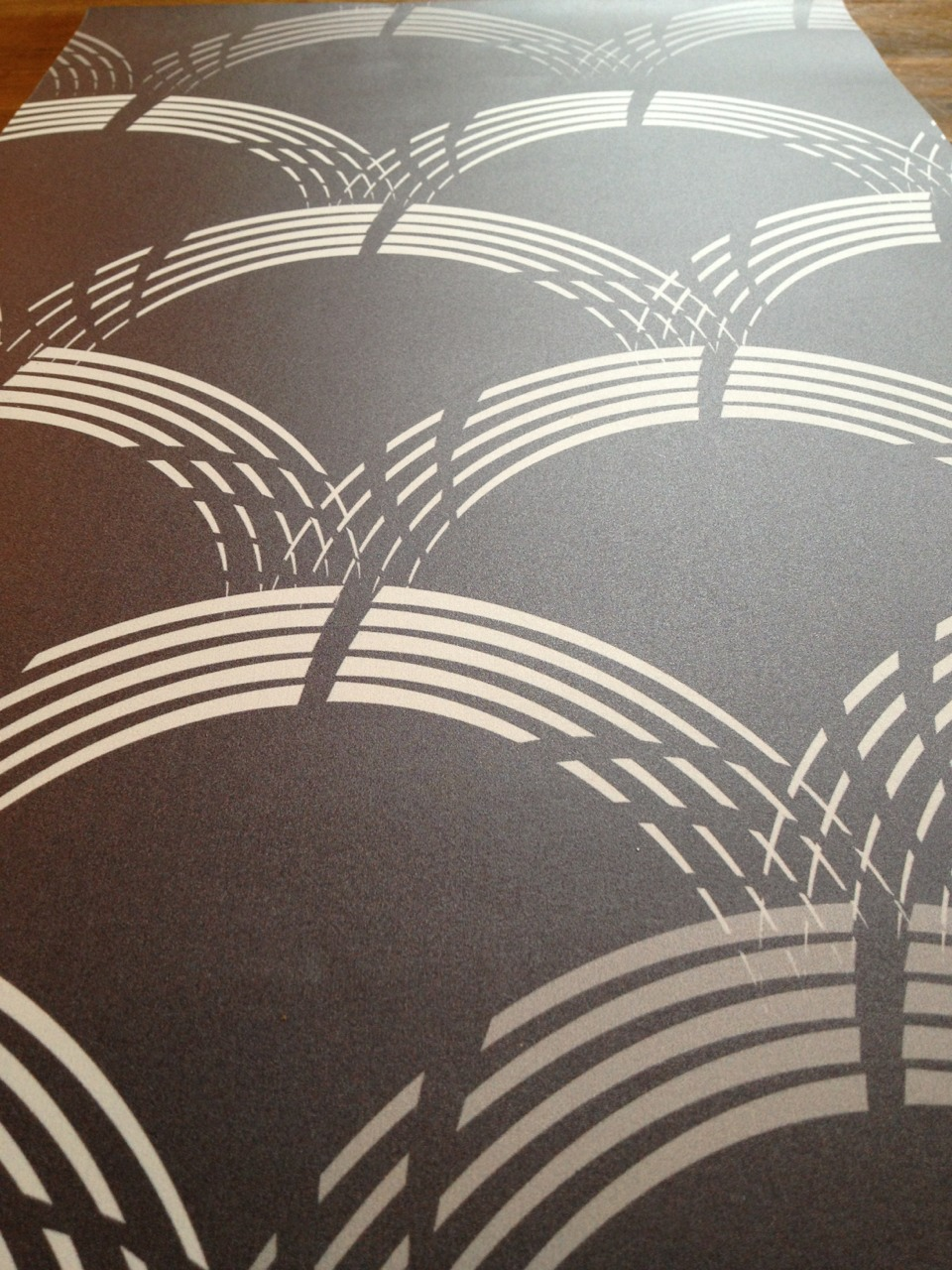 Our Koi wallpaper in Midnight Heather hot off the press! Commercial grade and LEED certified.