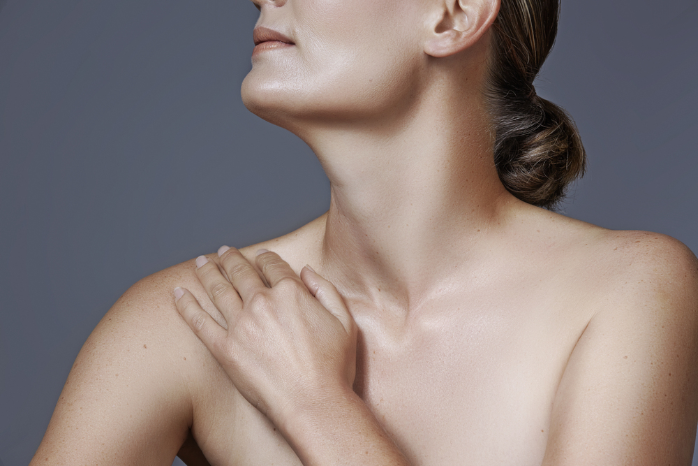 Woman with necklift