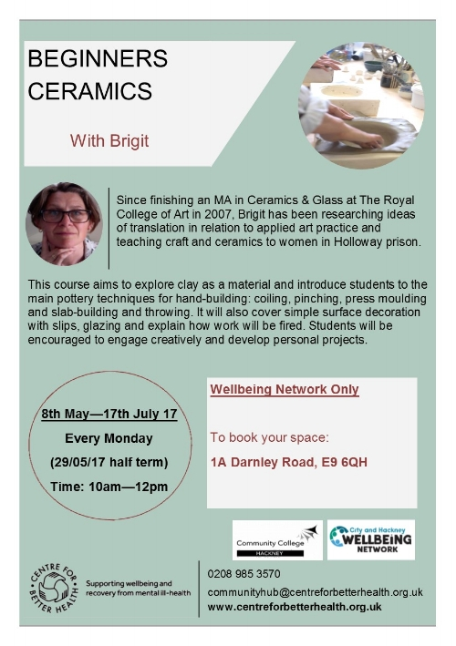 **Free for Wellbeing Network registered people (priority will be given to Wellbeing Network)**Waiting list available for non-Network members for unbooked space at the start of the course