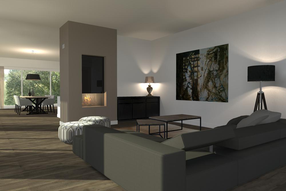 Interieur ontwerp woonkamer / keuken / eethoek.